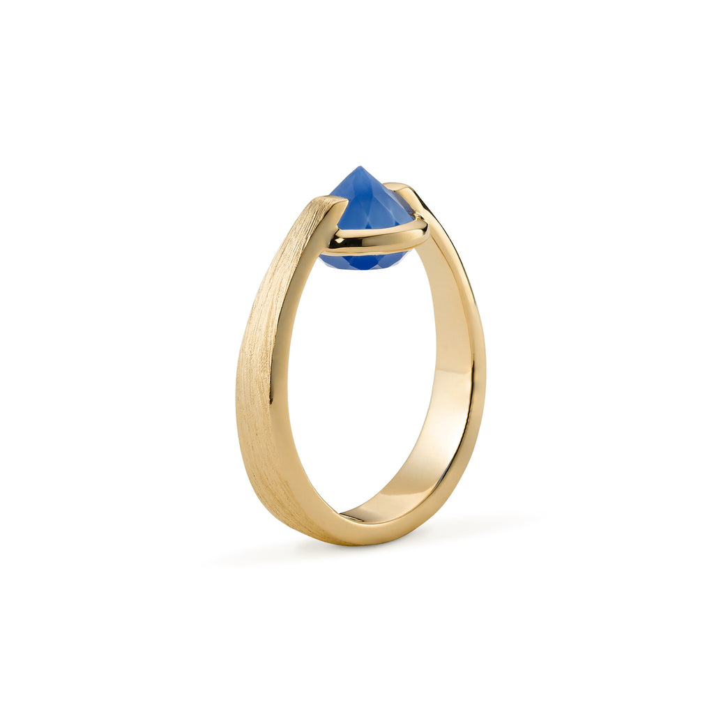 Enthusiasm - 3 Ct Blue Chalcedony Brushed Gold Ring