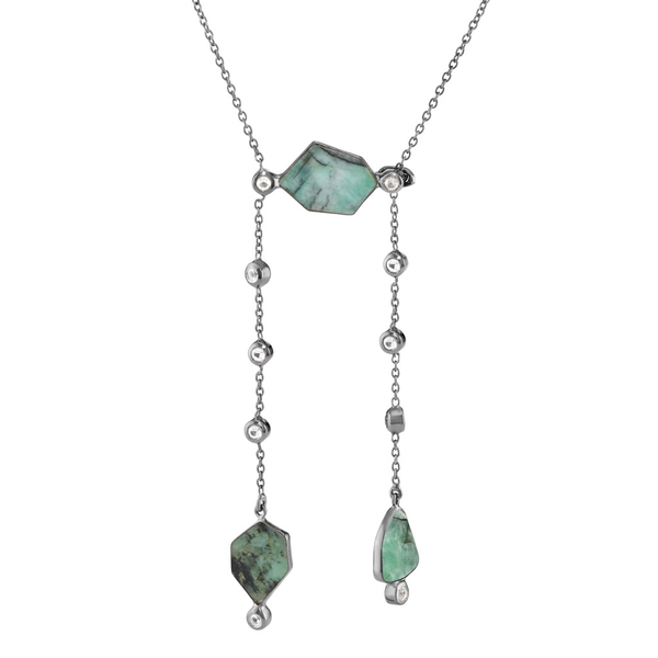 Lyja - Emerald Gunmetal Poise Lariat Necklace