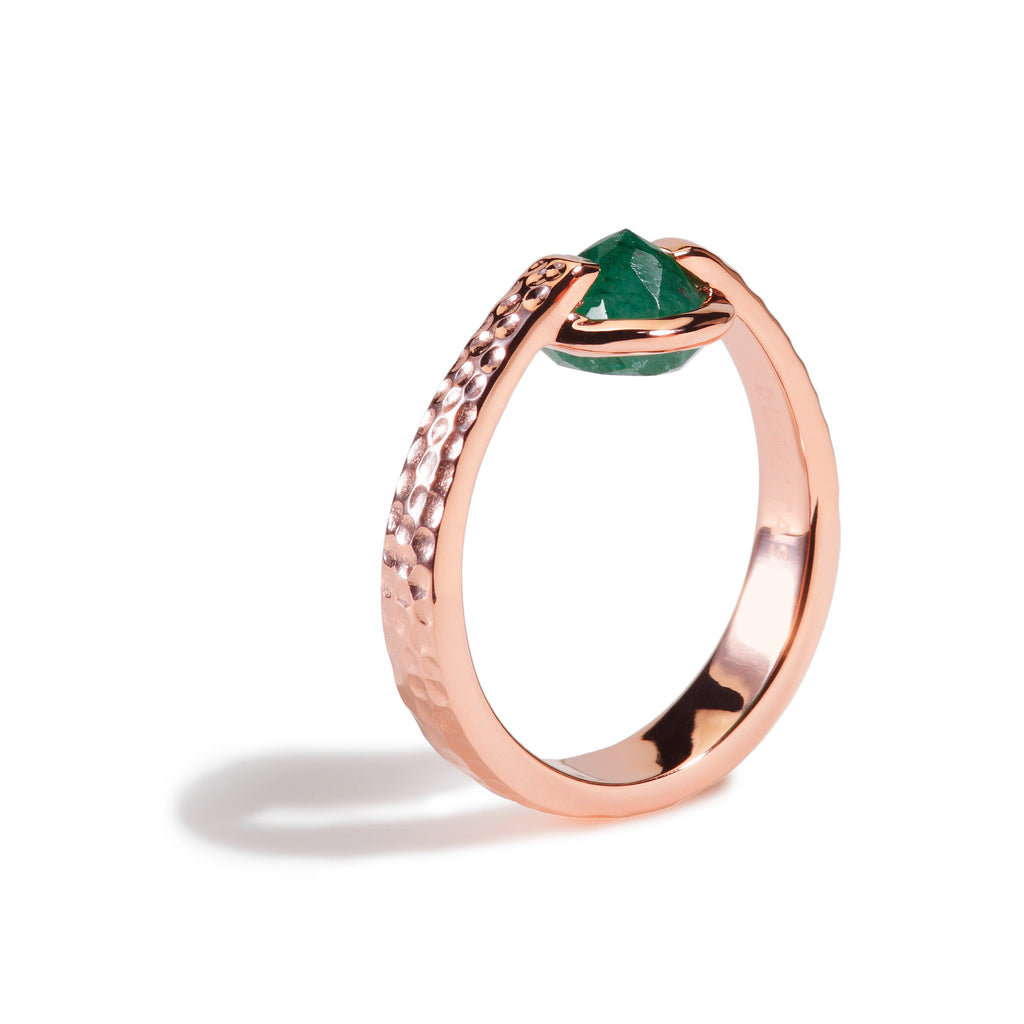 Luck - 3 Ct Aventurine Hammered Rose Gold Ring