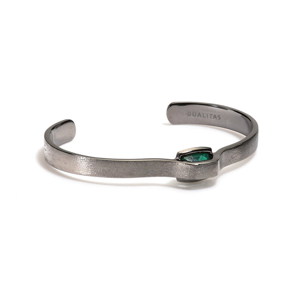 Luck - 5 Ct Cushion Aventurine Brushed Gunmetal Cuff