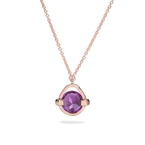 Comfort - 3 Ct Amethyst Polished Rose Gold Droplet Pendant