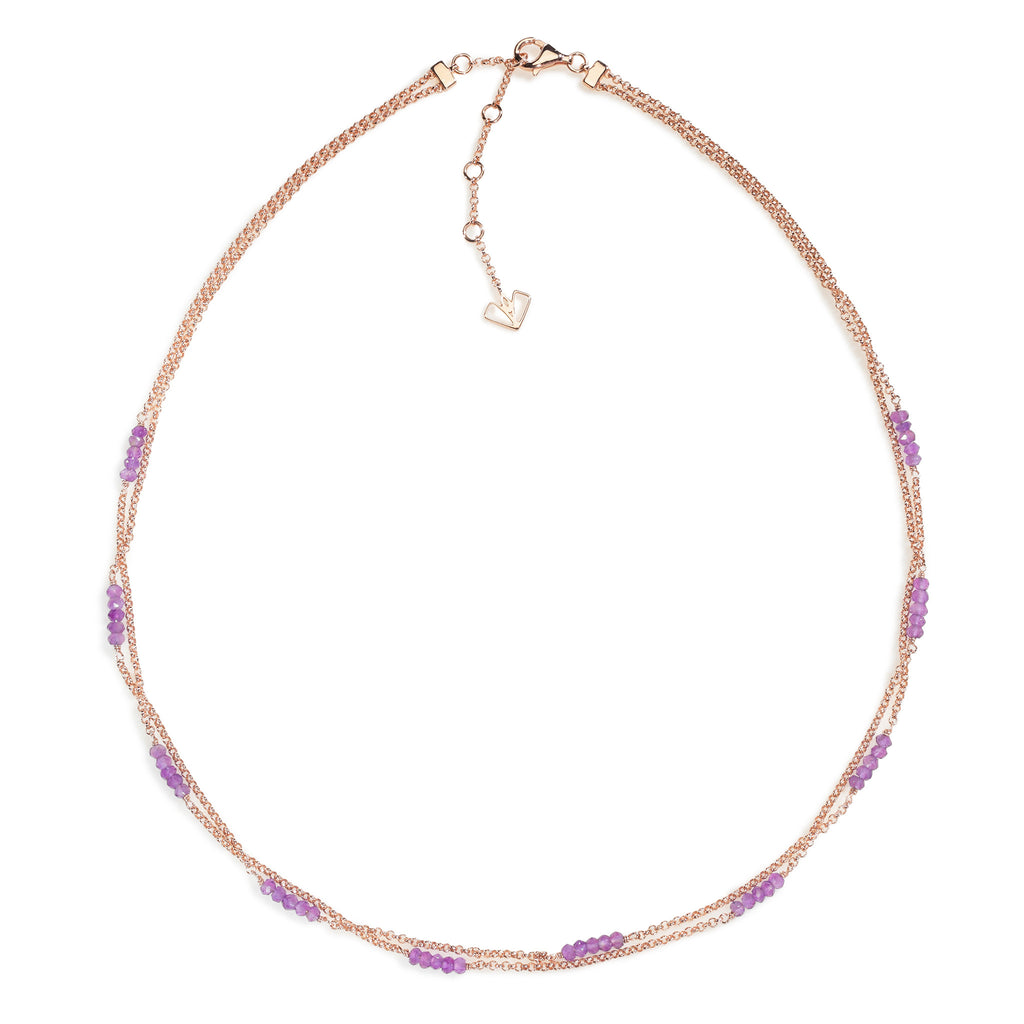 Iris - Amethyst Rose Gold Necklace