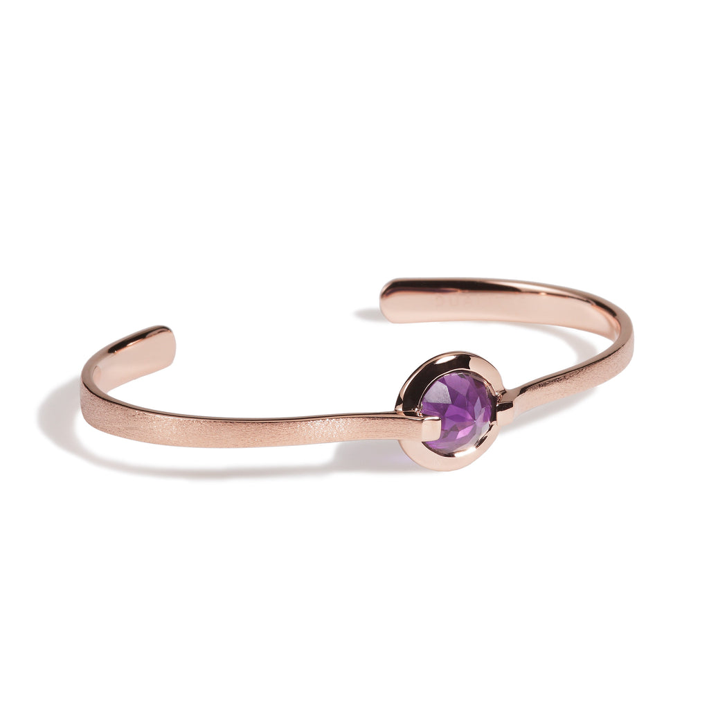 Comfort - 6 Ct Amethyst Brushed Rose Gold Cuff