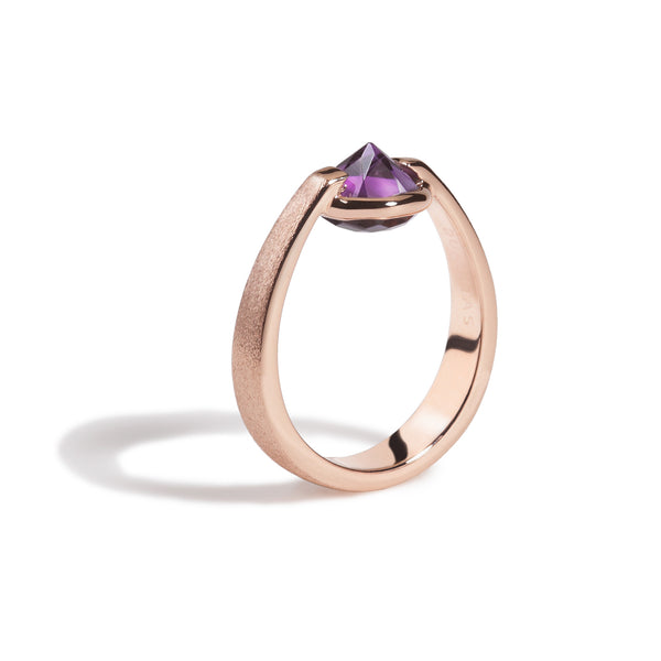 Comfort - 3 Ct Amethyst Brushed Rose Gold Ring