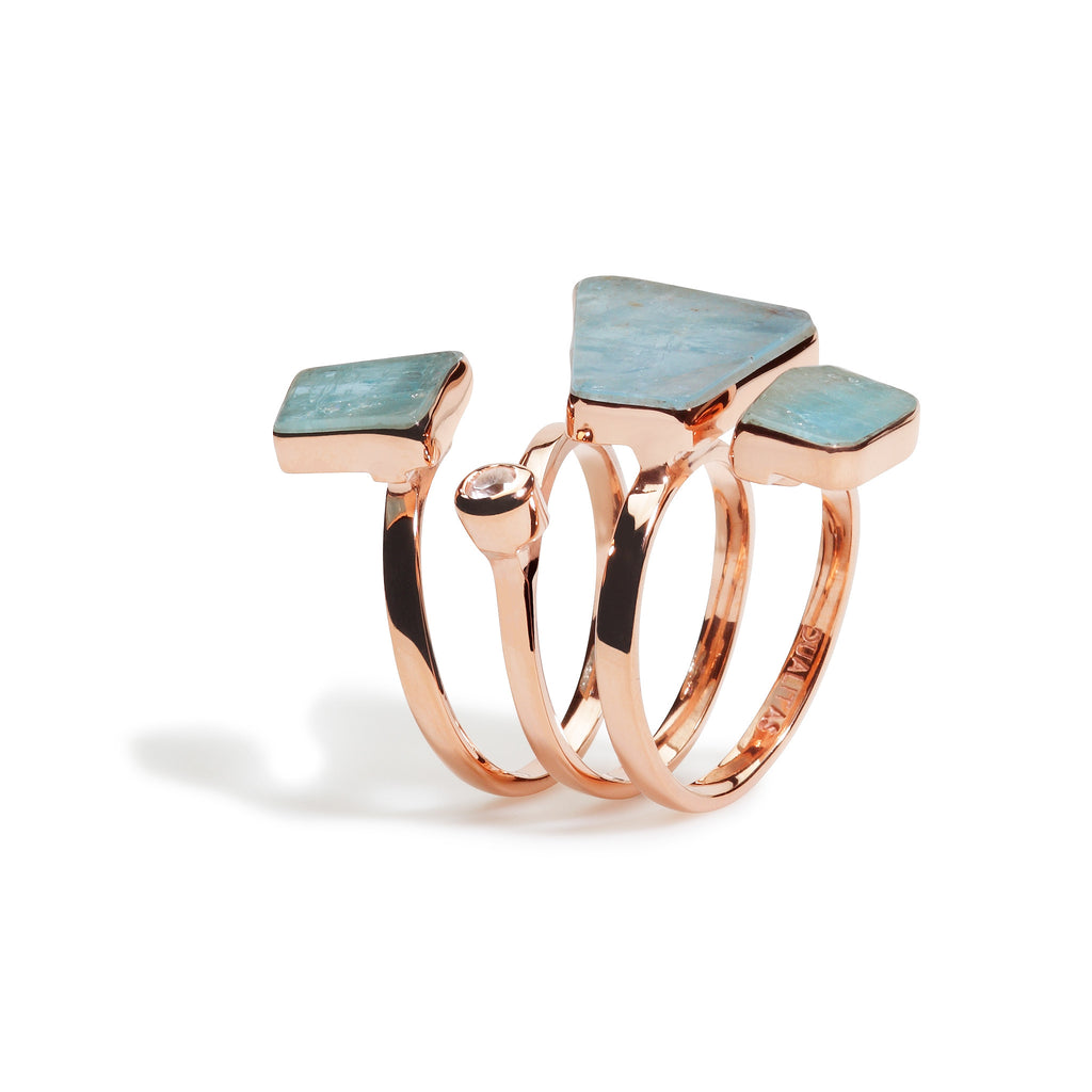 Namora - Aquamarine Triple Wrap Ring