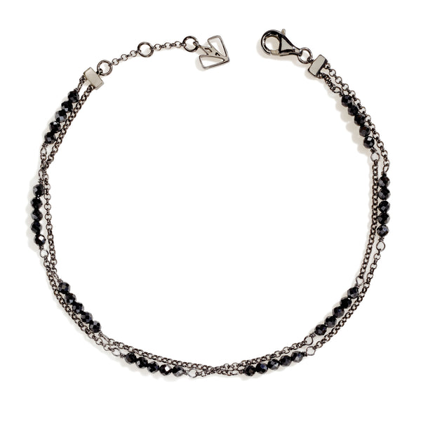 Hollyhock - Black Spinel Gunmetal Anklet