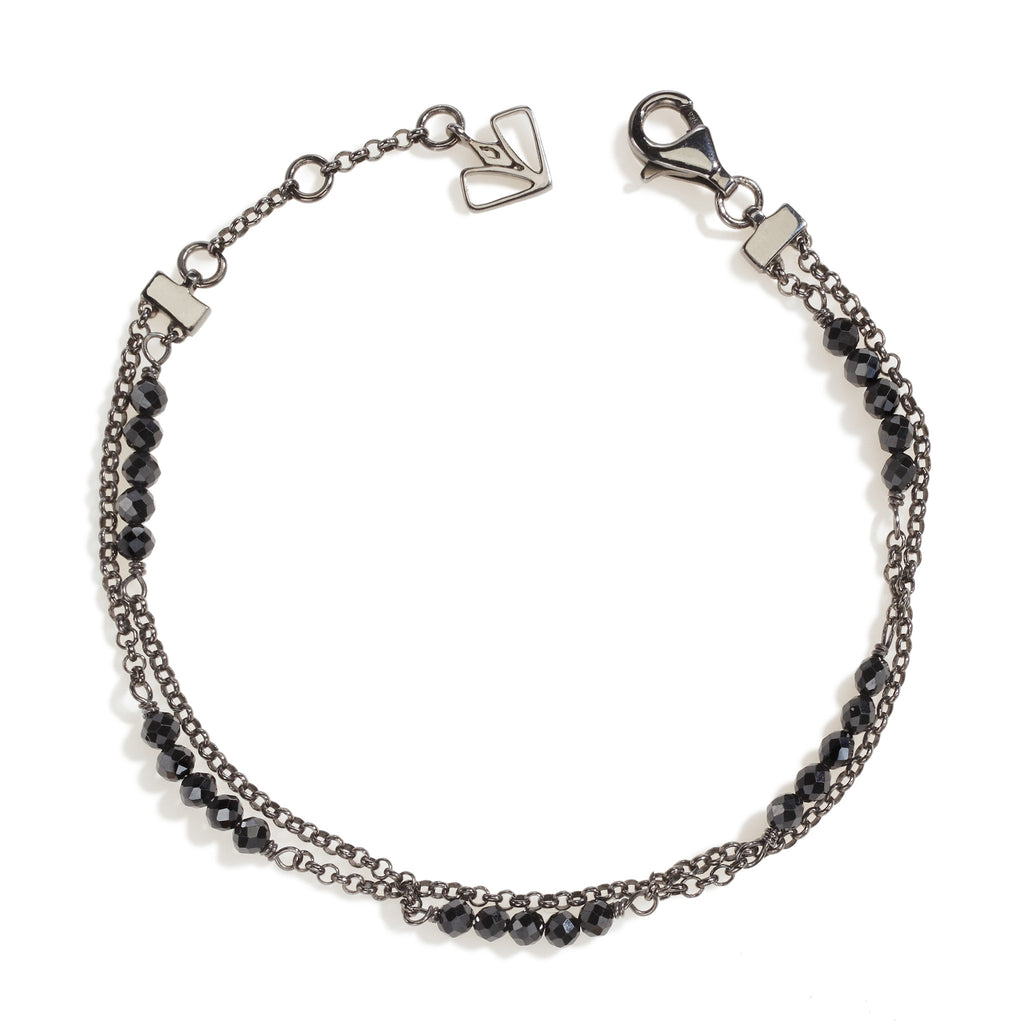 Hollyhock - Black Spinel Gunmetal Bracelet