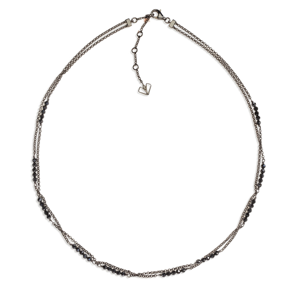 Hollyhock - Black Spinel Gunmetal Necklace