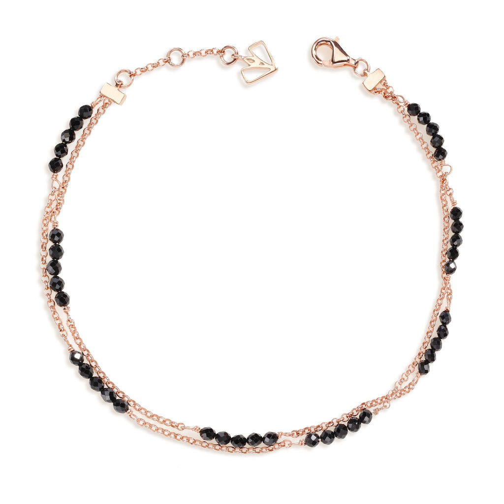 Calla - Black Spinel Rose Gold Anklet