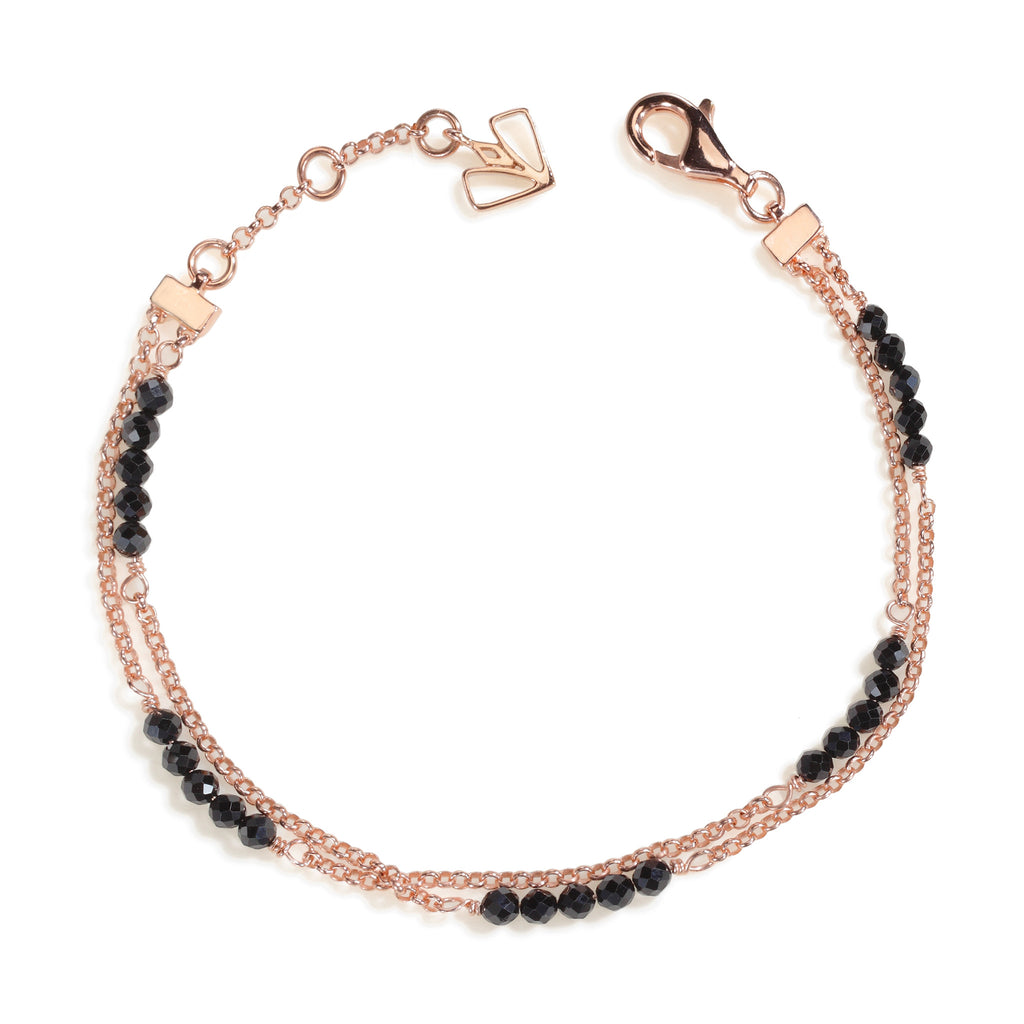 Calla - Black Spinel Rose Gold Bracelet
