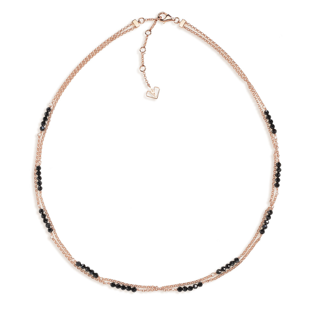 Calla - Black Spinel Rose Gold Necklace