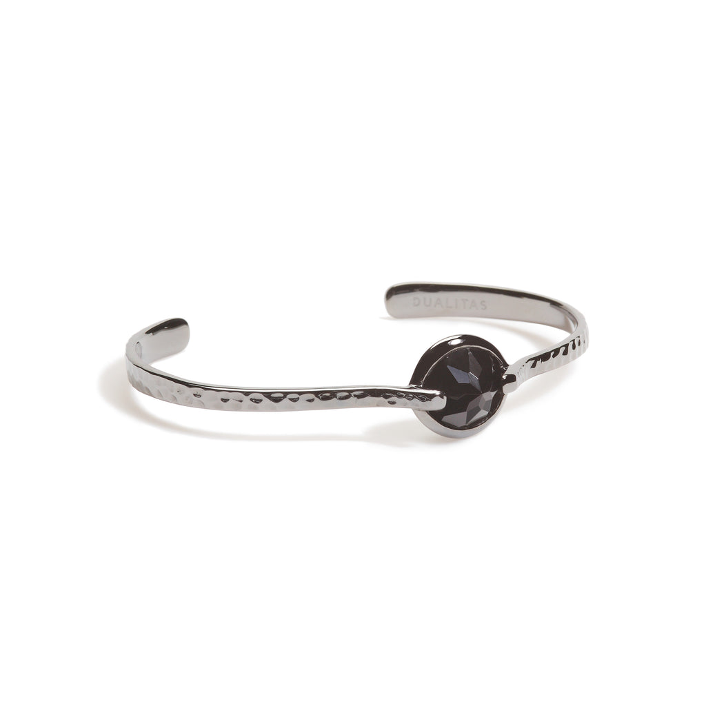 Vigor -  9 Ct Black Onyx Hammered Gunmetal Cuff