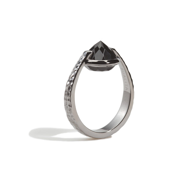 Vigor - 6 Ct Black Onyx Hammered Gunmetal Ring