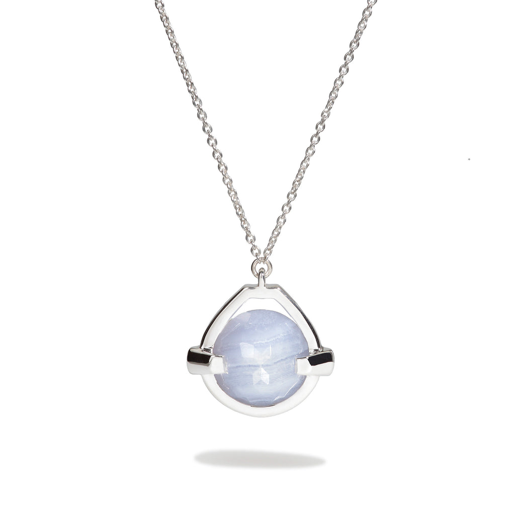 Harmony - 9 Ct Blue Lace Chalcedony Polished Silver Drop Pendant