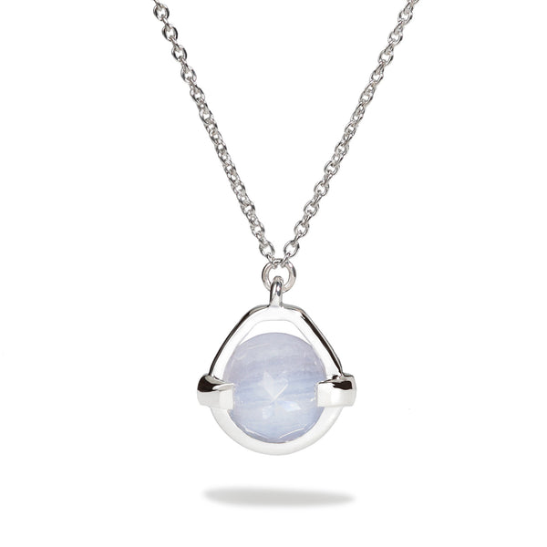 Harmony - 3 Ct Blue Lace Chalcedony Polished Silver Droplet Pendant