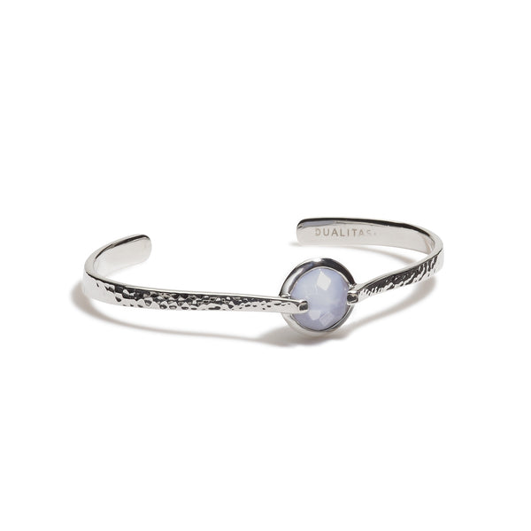Harmony - 9 Ct Blue Lace Chalcedony Hammered Silver Cuff
