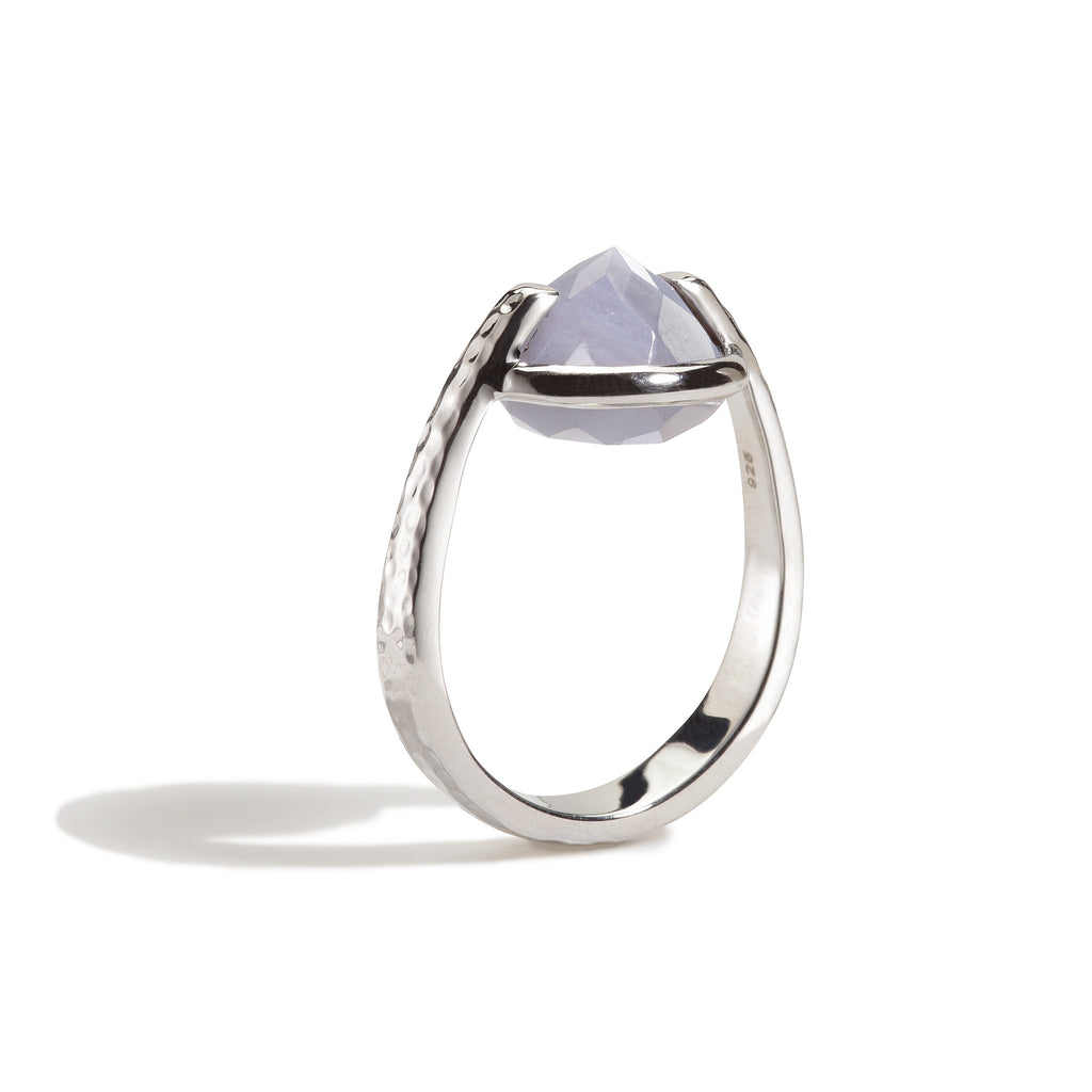 Harmony - 9 Ct Blue Lace Chalcedony Hammered Silver Ring