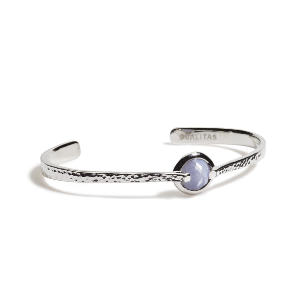 Harmony - 6 Ct Blue Lace Chalcedony Hammered Silver Cuff