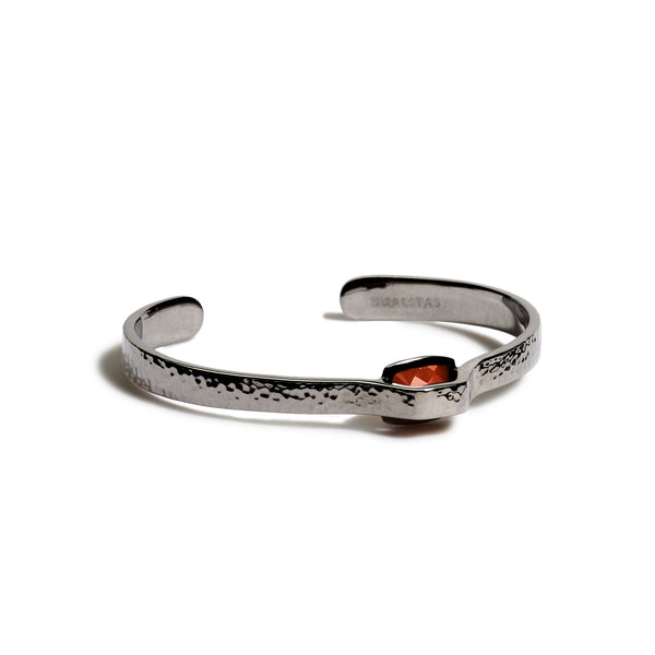 Courage - 5 Ct Carnelian Hammered Gunmetal Cuff