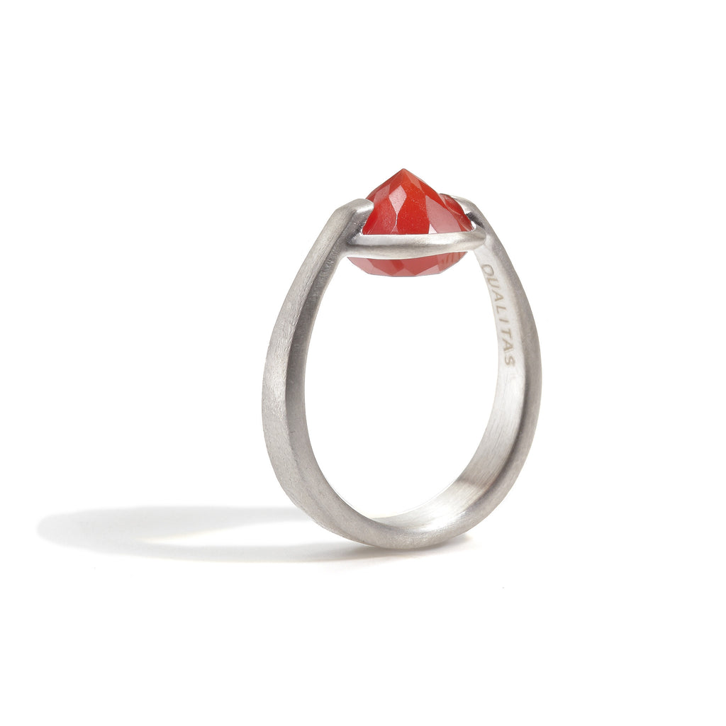 Courage - 6 Ct Carnelian Brushed Silver Ring