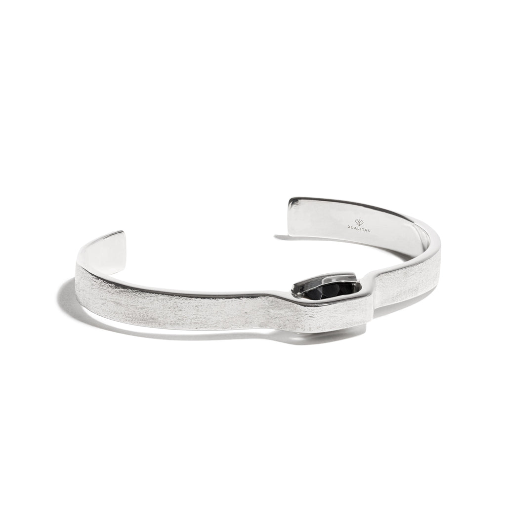 Vigor - 5 Ct Black Onyx Brushed Silver Cuff
