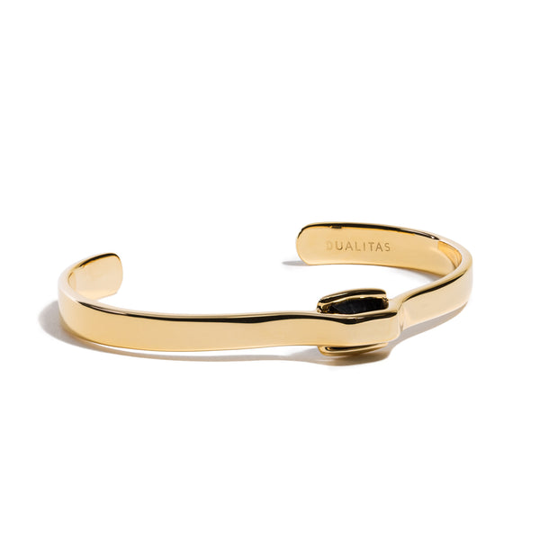Vigor - 5 Ct Black Onyx Polished Gold Cuff