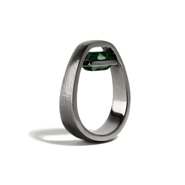 Luck - 3 Ct Cushion Aventurine Brushed Gunmetal Ring