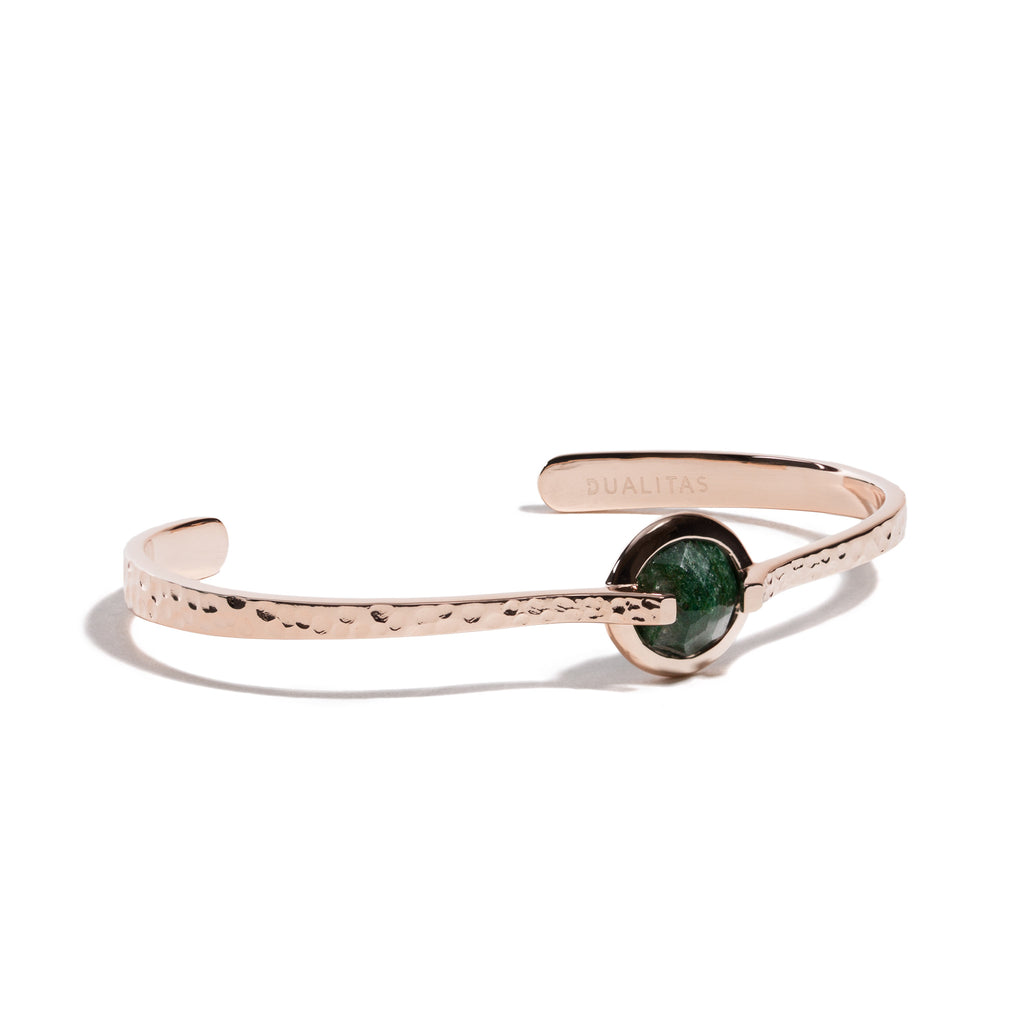 Luck - 6 Ct Aventurine Hammered Rose Gold Cuff
