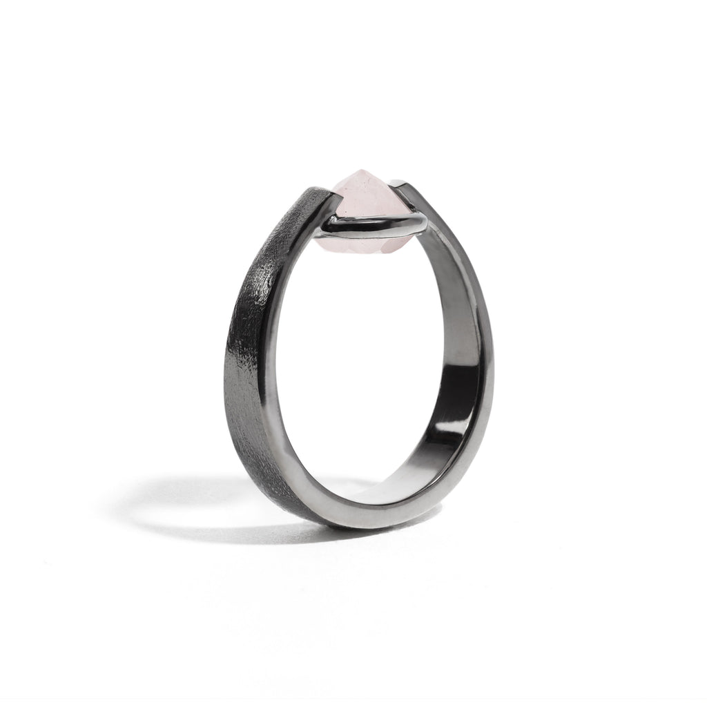 Compassion - 3 Ct Rose Quartz Brushed Gunmetal Ring