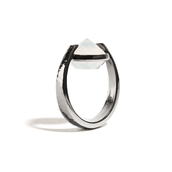 Bravery - 9 Ct White Onyx Hammered Gunmetal Ring