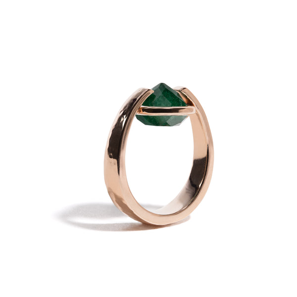 Luck - 6 Ct Aventurine Hammered Rose Gold Ring