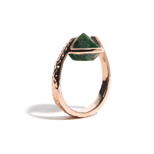 Luck - 9 Ct Aventurine Hammered Rose Gold Ring