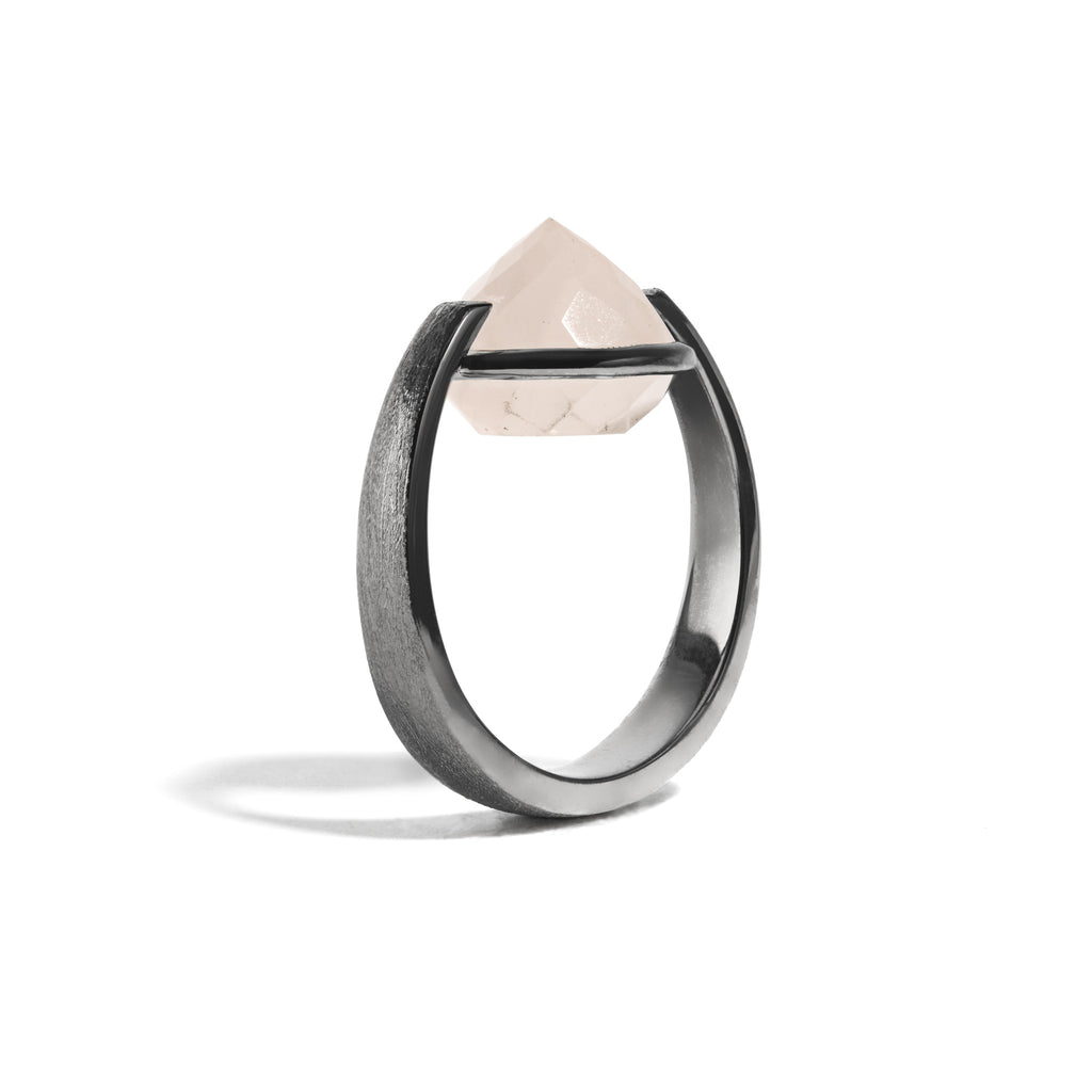 Compassion - 9 Ct Rose Quartz Brushed Gunmetal Ring