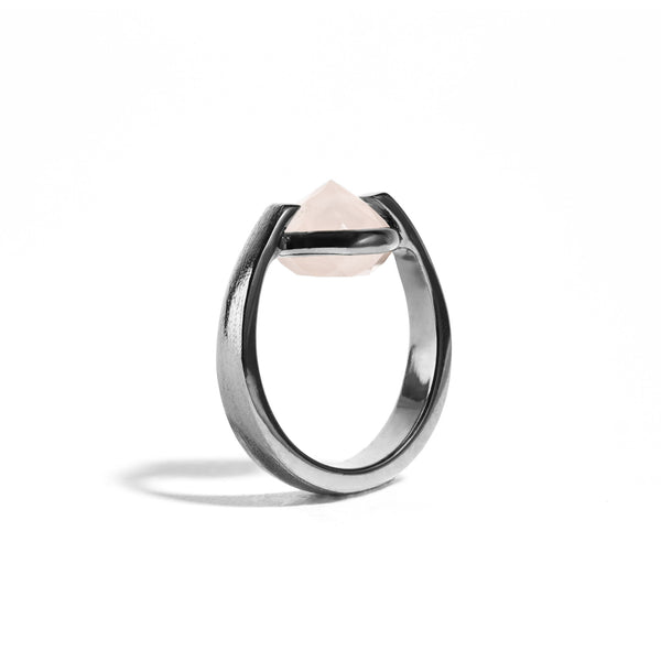 Compassion - 6 Ct Rose Quartz Brushed Gunmetal Ring