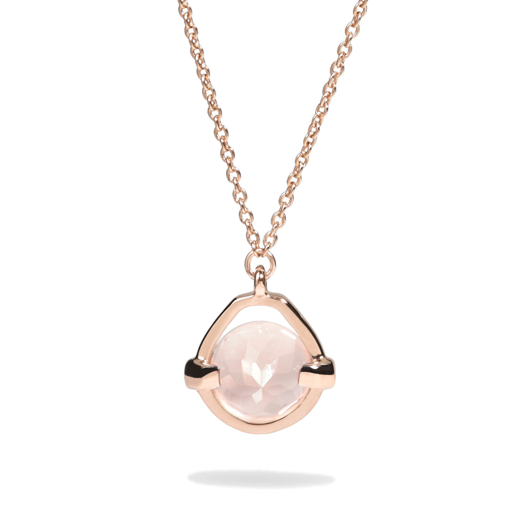 Love - 3 Ct Rose Quartz Polished Rose Gold Droplet Pendant