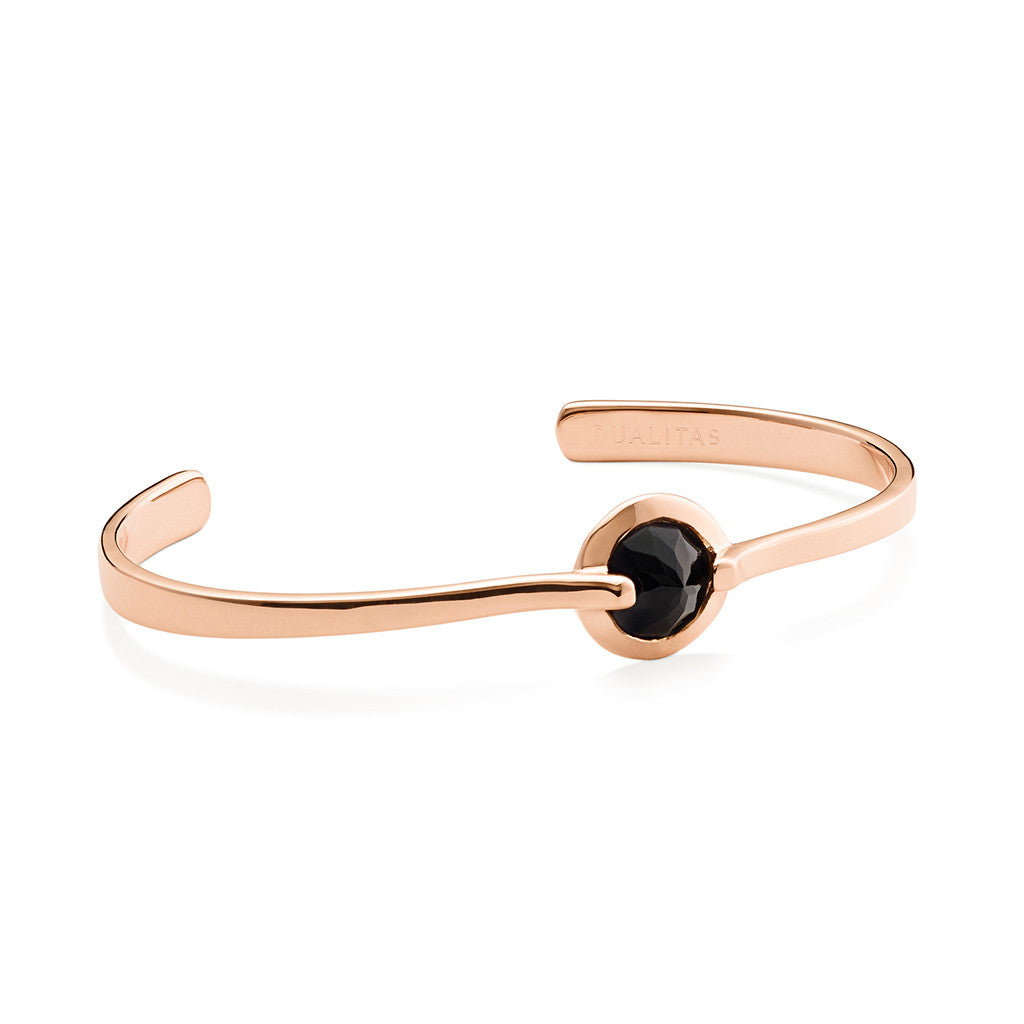 Vigor - 6 Ct Black Onyx Polished Rose Gold Cuff