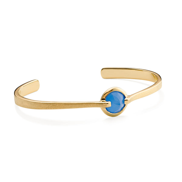 Enthusiasm - 6 Ct Blue Chalcedony Brushed Gold Cuff
