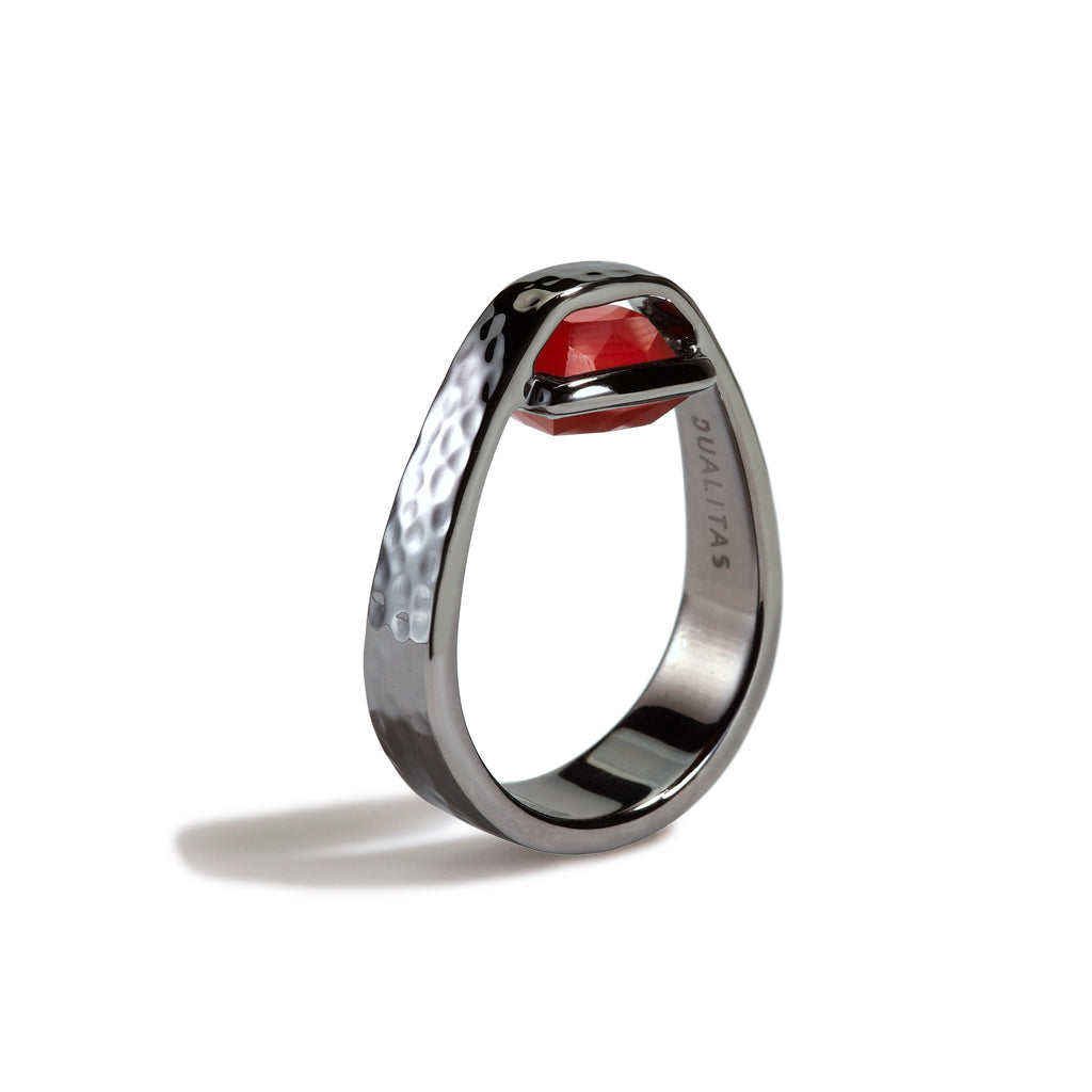 Courage - 3 Ct Cushion Carnelian Hammered Gunmetal Ring