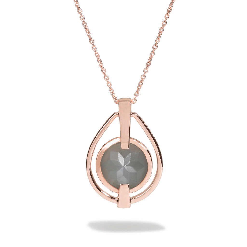 Intuition - 9 Ct Gray Moonstone Polished Rose Gold Deco Pendant