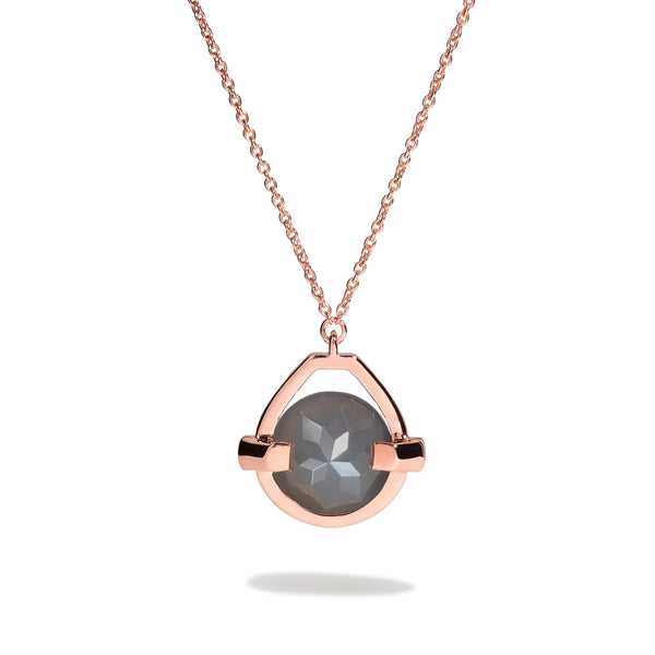 Intuition - 9 Ct Gray Moonstone Polished Rose Gold Drop Pendant