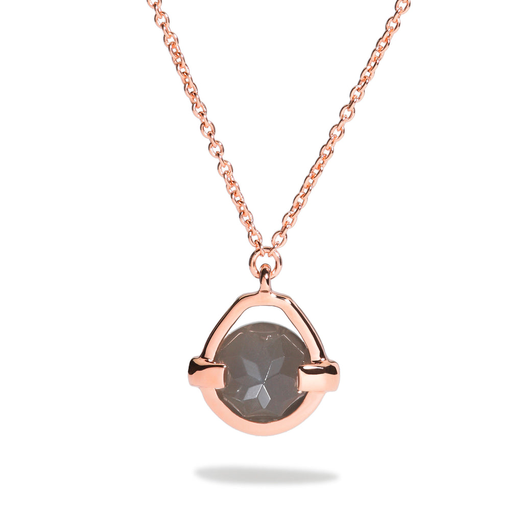 Intuition - 3 Ct Gray Moonstone Polished Rose Gold Droplet Pendant