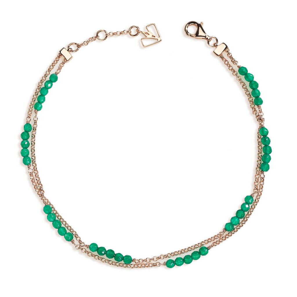Dahlia - Green Onyx Rose Gold Anklet