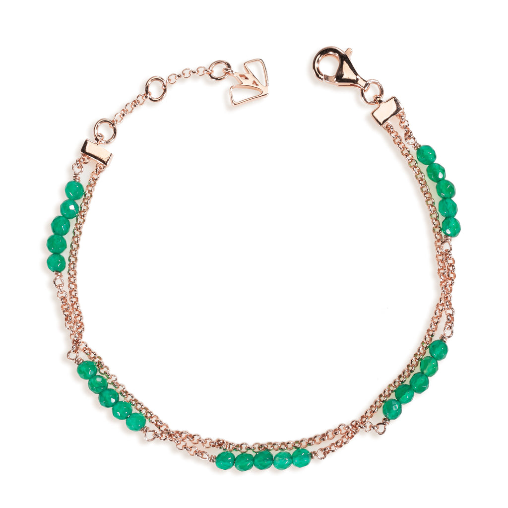 Dahlia - Green Onyx Rose Gold Bracelet