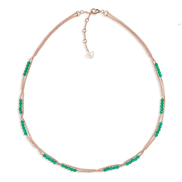 Dahlia - Green Onyx Rose Gold Necklace