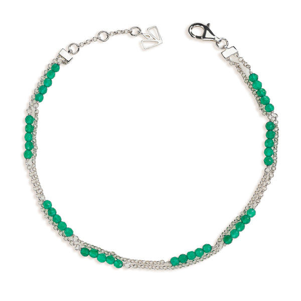 Lily - Green Onyx Silver Anklet