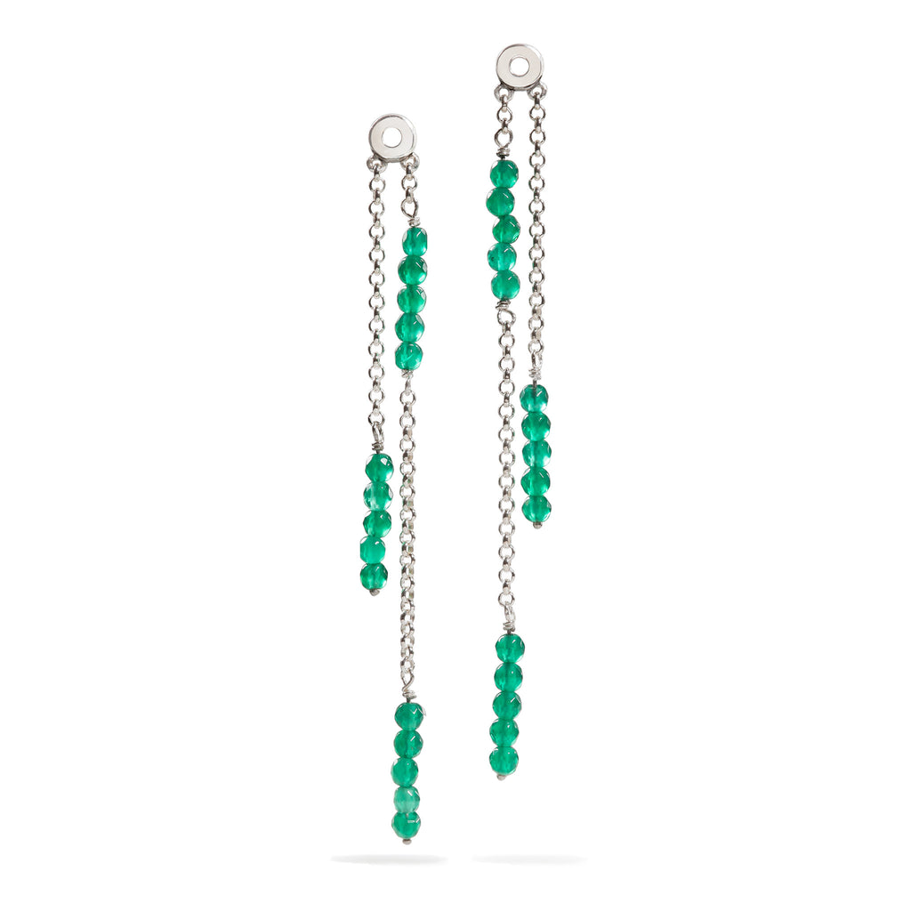 Lily - Green Onyx Silver Earrings