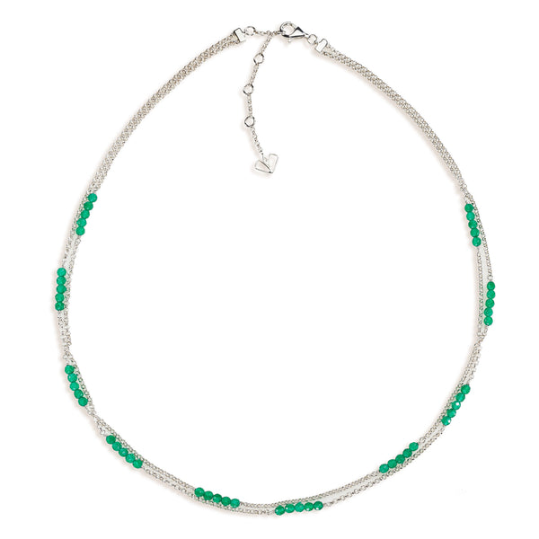 Lily - Green Onyx Silver Necklace