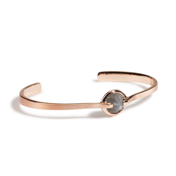 Intuition - 6 Ct Gray Moonstone Brushed Rose Gold Cuff
