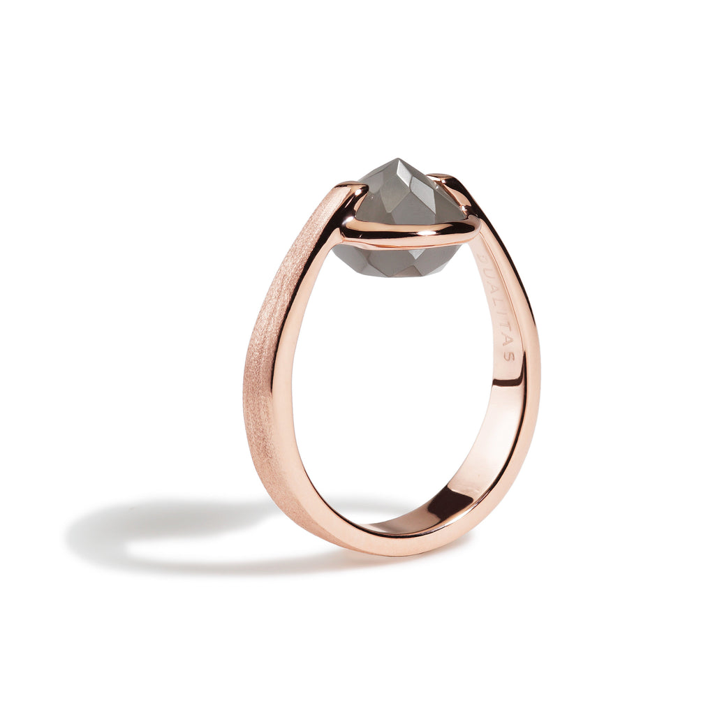 Intuition - 6 Ct Gray Moonstone Brushed Rose Gold Ring