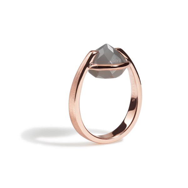 Intuition - 9 Ct Gray Moonstone Brushed Rose Gold Ring
